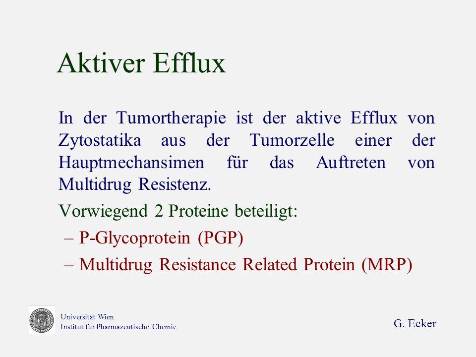 G. Ecker Universität Wien Institut für Pharmazeutische Chemie Aktiver Efflux In der Tumortherapie ist der aktive Efflux von Zytostatika aus der Tumorz