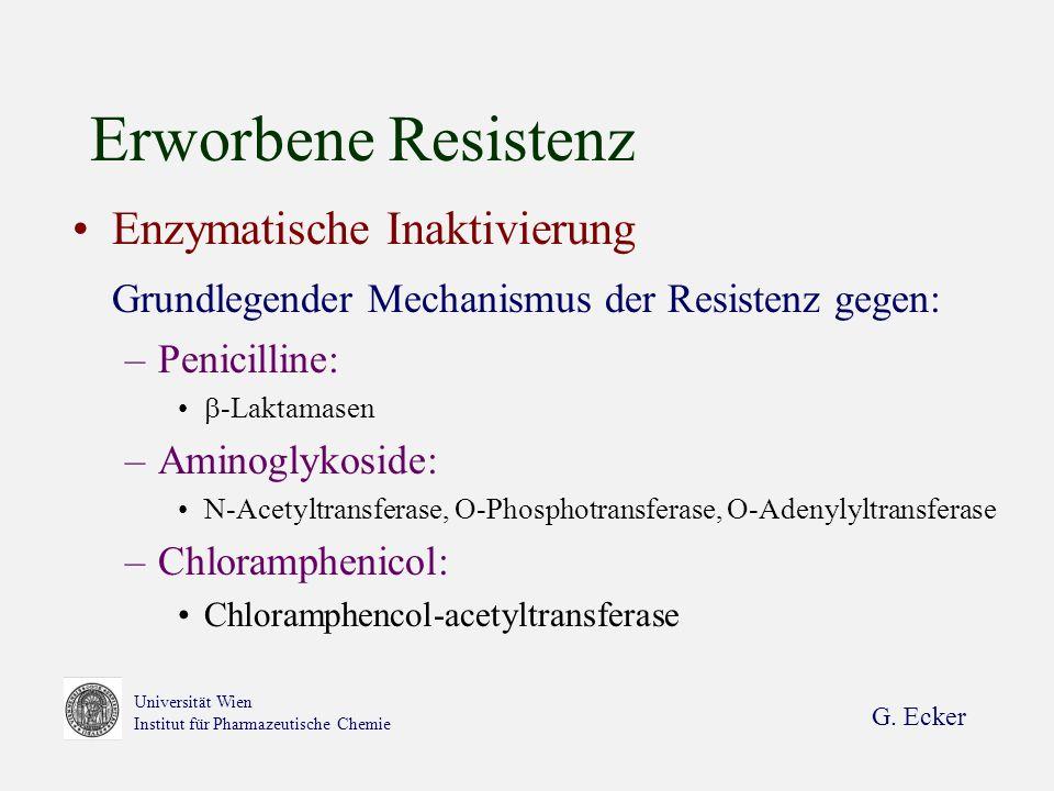 G. Ecker Universität Wien Institut für Pharmazeutische Chemie Erworbene Resistenz Enzymatische Inaktivierung Grundlegender Mechanismus der Resistenz g