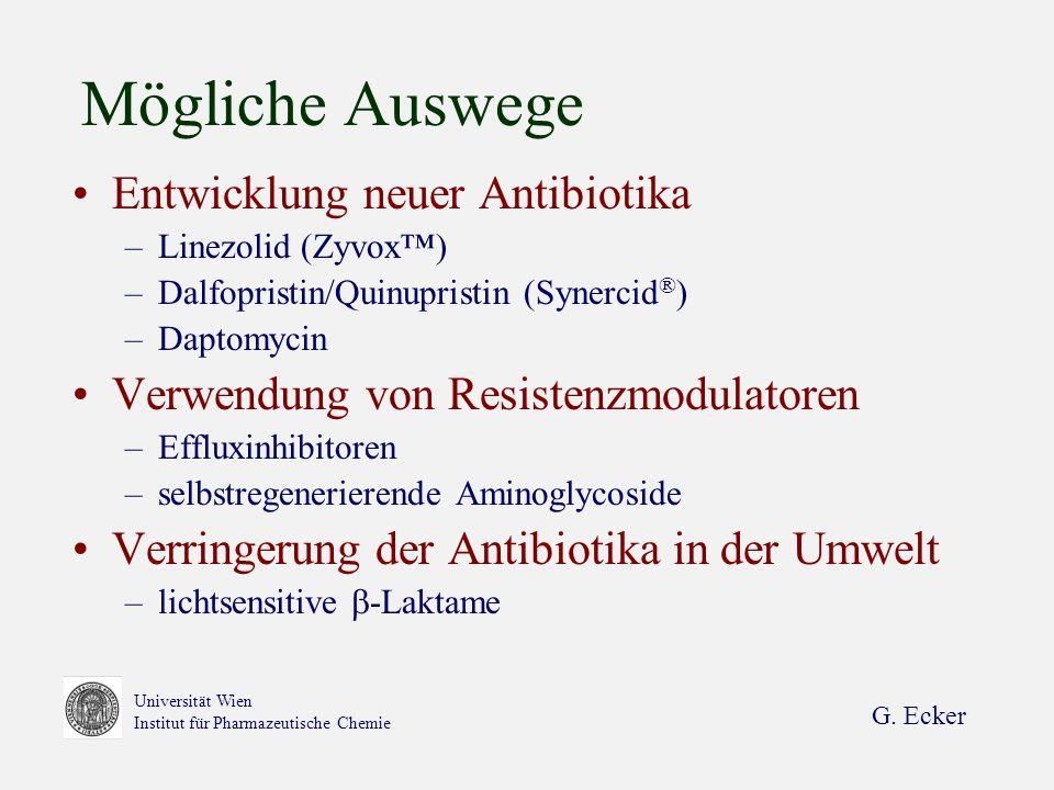 G. Ecker Universität Wien Institut für Pharmazeutische Chemie Mögliche Auswege Entwicklung neuer Antibiotika –Linezolid (Zyvox) –Dalfopristin/Quinupri