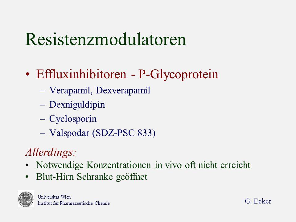 G. Ecker Universität Wien Institut für Pharmazeutische Chemie Resistenzmodulatoren Effluxinhibitoren - P-Glycoprotein –Verapamil, Dexverapamil –Dexnig