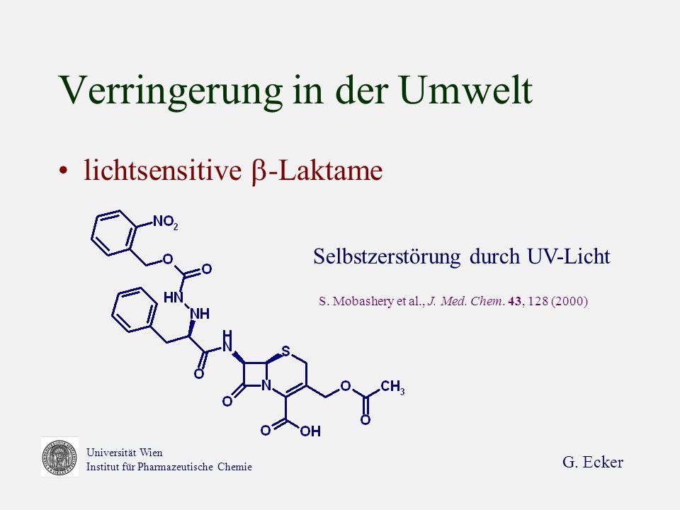 G. Ecker Universität Wien Institut für Pharmazeutische Chemie Verringerung in der Umwelt lichtsensitive -Laktame Selbstzerstörung durch UV-Licht S. Mo