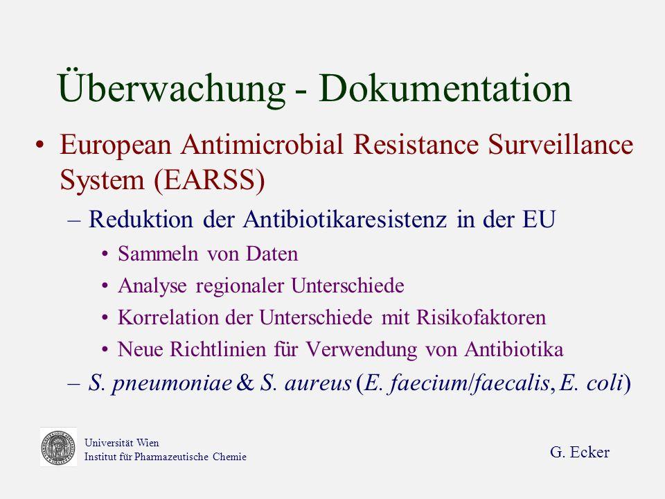 G. Ecker Universität Wien Institut für Pharmazeutische Chemie Überwachung - Dokumentation European Antimicrobial Resistance Surveillance System (EARSS