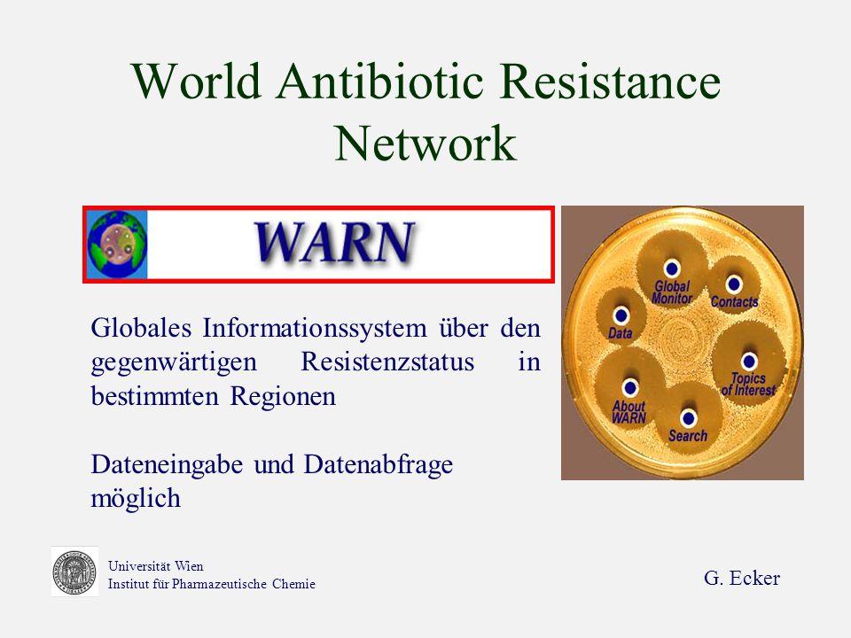 G. Ecker Universität Wien Institut für Pharmazeutische Chemie World Antibiotic Resistance Network Globales Informationssystem über den gegenwärtigen R