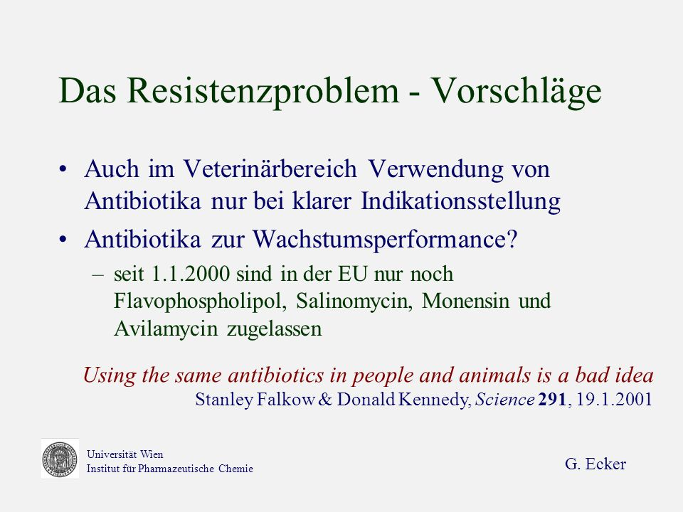 G. Ecker Universität Wien Institut für Pharmazeutische Chemie Das Resistenzproblem - Vorschläge Auch im Veterinärbereich Verwendung von Antibiotika nu