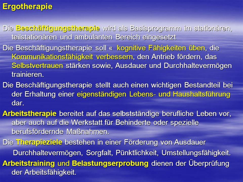 Ergotherapie Die Beschäftigungstherapie wird als Basisprogramm im stationären, teilstationären und ambulanten Bereich eingesetzt Die Beschäftigungsthe