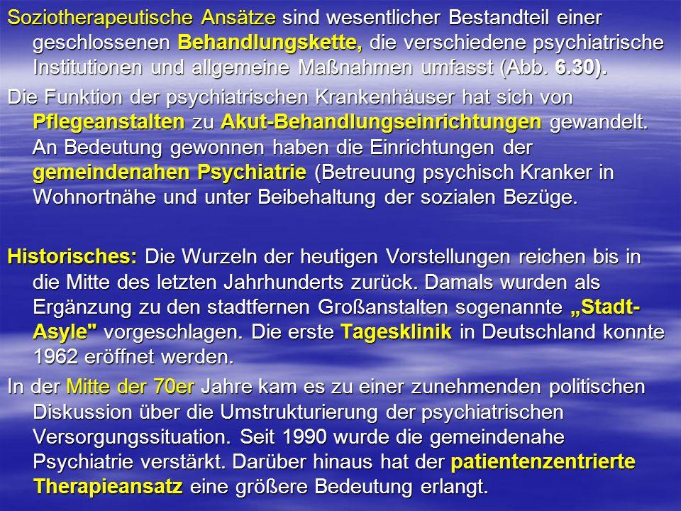 Soziotherapeutische Ansätze sind wesentlicher Bestandteil einer geschlossenen Behandlungskette, die verschiedene psychiatrische Institutionen und allg