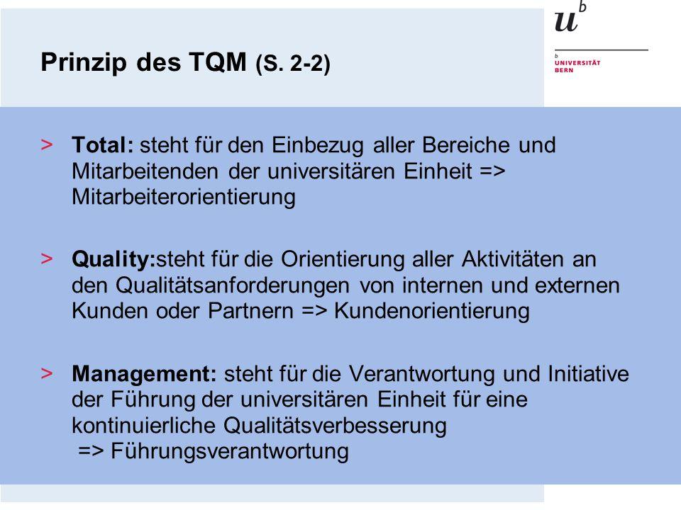 >Total: steht für den Einbezug aller Bereiche und Mitarbeitenden der universitären Einheit => Mitarbeiterorientierung >Quality:steht für die Orientier