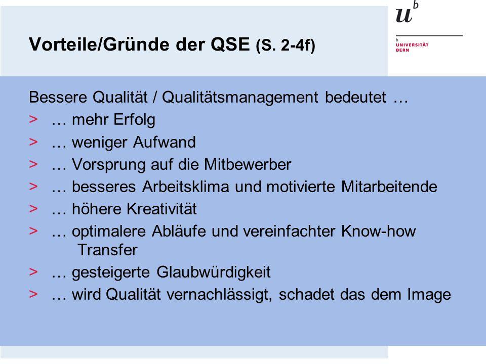 Vorteile/Gründe der QSE (S. 2-4f) Bessere Qualität / Qualitätsmanagement bedeutet … >… mehr Erfolg >… weniger Aufwand >… Vorsprung auf die Mitbewerber