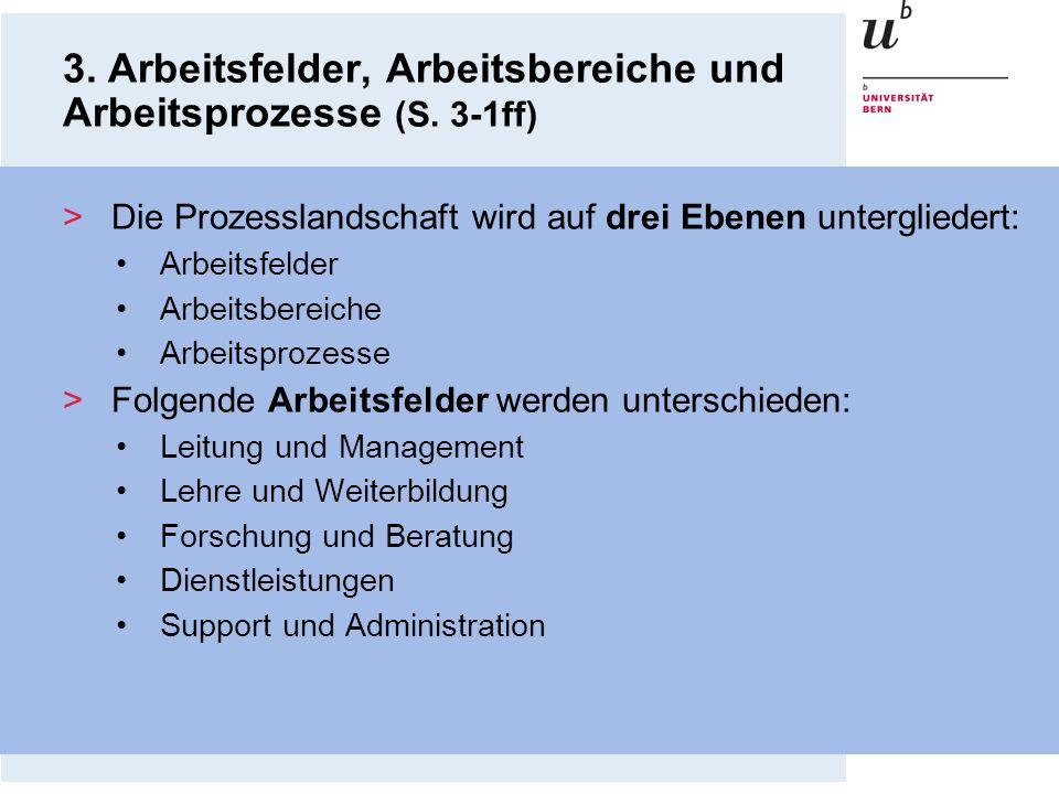 3. Arbeitsfelder, Arbeitsbereiche und Arbeitsprozesse (S. 3-1ff) >Die Prozesslandschaft wird auf drei Ebenen untergliedert: Arbeitsfelder Arbeitsberei