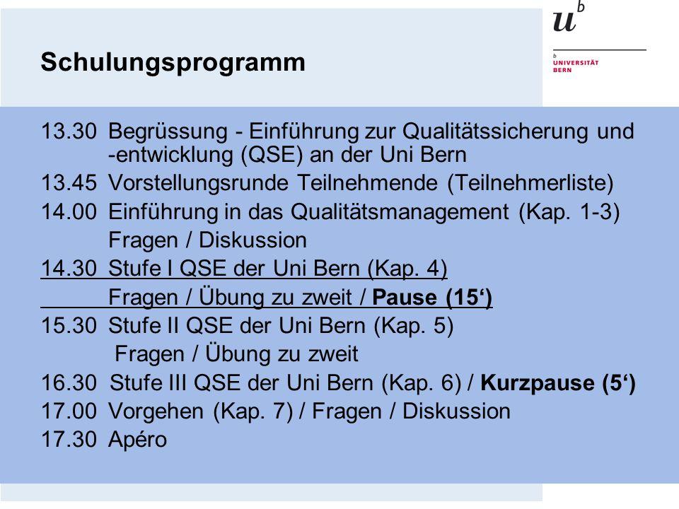 Schulungsprogramm 13.30Begrüssung - Einführung zur Qualitätssicherung und -entwicklung (QSE) an der Uni Bern 13.45Vorstellungsrunde Teilnehmende (Teil