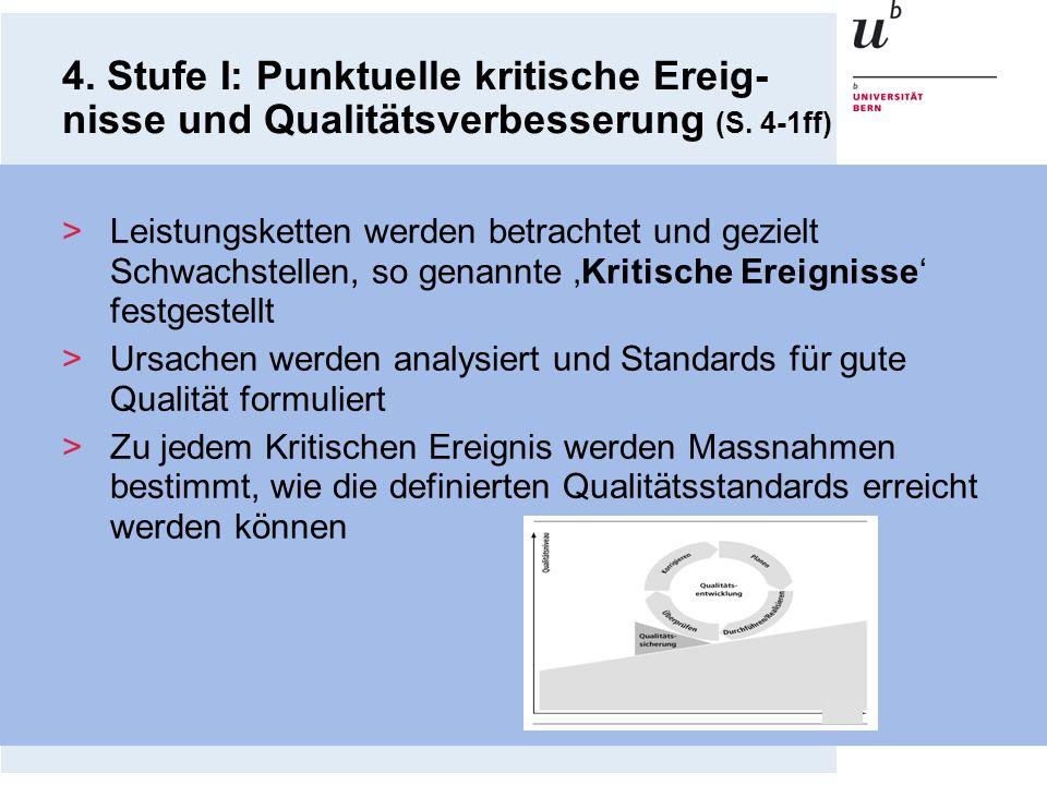 4. Stufe I: Punktuelle kritische Ereig- nisse und Qualitätsverbesserung (S. 4-1ff) >Leistungsketten werden betrachtet und gezielt Schwachstellen, so g