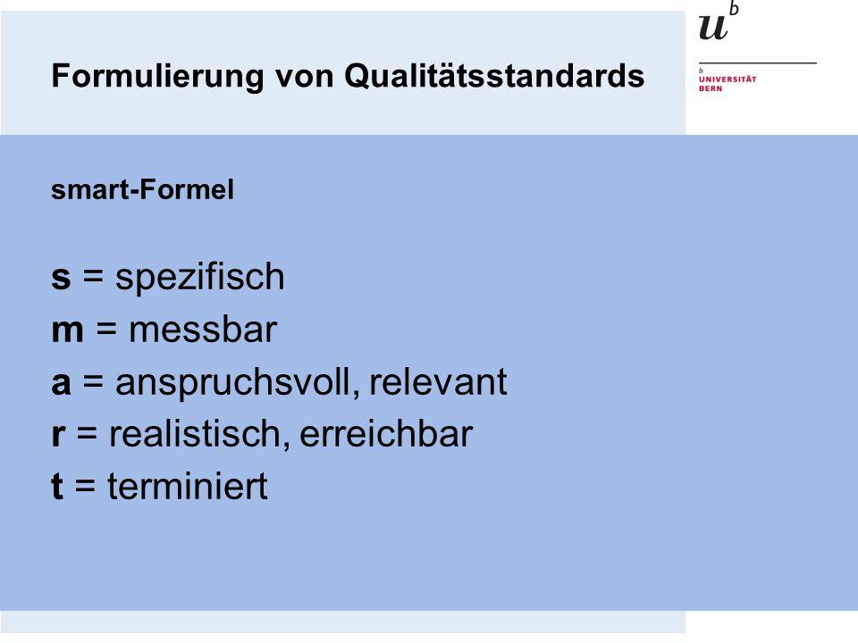 Formulierung von Qualitätsstandards smart-Formel s = spezifisch m = messbar a = anspruchsvoll, relevant r = realistisch, erreichbar t = terminiert
