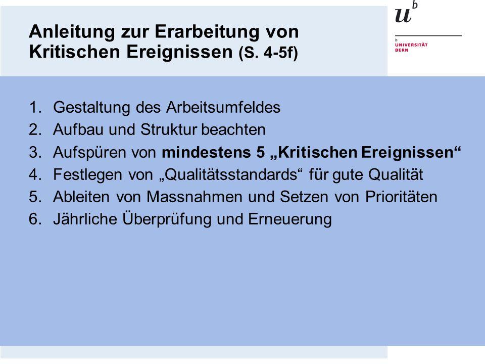 Anleitung zur Erarbeitung von Kritischen Ereignissen (S. 4-5f) 1.Gestaltung des Arbeitsumfeldes 2.Aufbau und Struktur beachten 3.Aufspüren von mindest