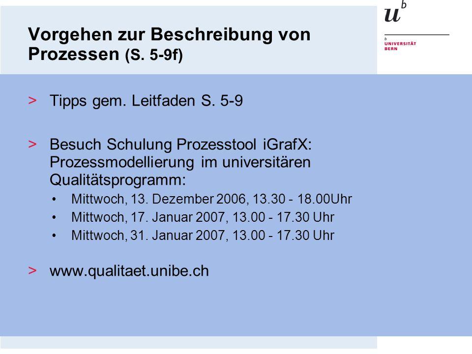 >Tipps gem. Leitfaden S. 5-9 >Besuch Schulung Prozesstool iGrafX: Prozessmodellierung im universitären Qualitätsprogramm: Mittwoch, 13. Dezember 2006,