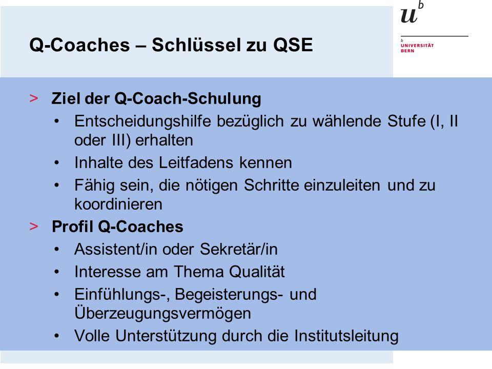 Q-Coaches – Schlüssel zu QSE >Ziel der Q-Coach-Schulung Entscheidungshilfe bezüglich zu wählende Stufe (I, II oder III) erhalten Inhalte des Leitfaden