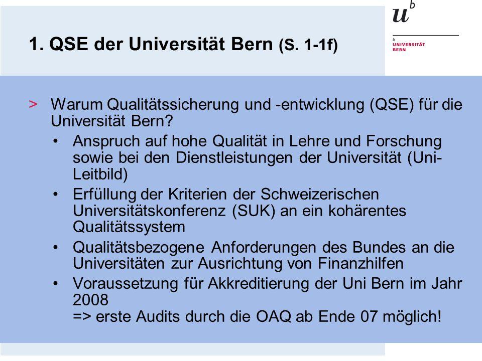 1. QSE der Universität Bern (S. 1-1f) >Warum Qualitätssicherung und -entwicklung (QSE) für die Universität Bern? Anspruch auf hohe Qualität in Lehre u