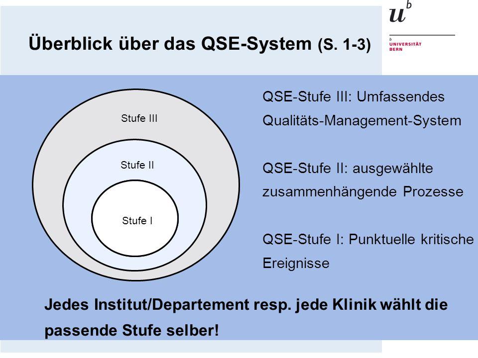 Stufe I Stufe II Stufe III QSE-Stufe III: Umfassendes Qualitäts-Management-System QSE-Stufe II: ausgewählte zusammenhängende Prozesse QSE-Stufe I: Pun