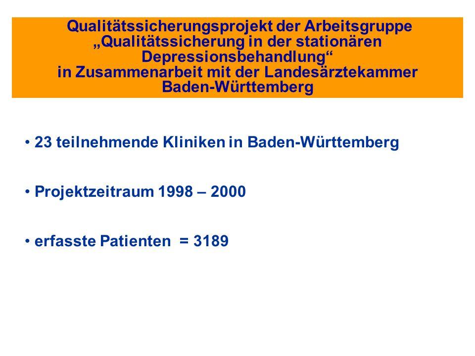 Qualitätssicherungsprojekt der Arbeitsgruppe Qualitätssicherung in der stationären Depressionsbehandlung in Zusammenarbeit mit der Landesärztekammer B