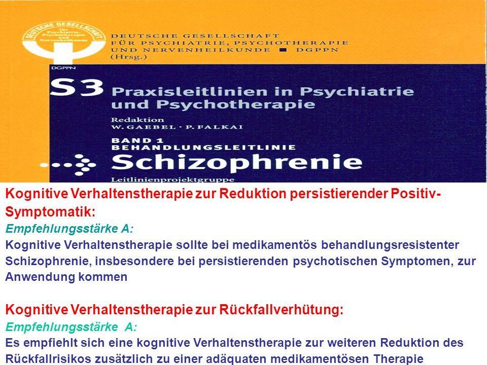 Kognitive Verhaltenstherapie zur Reduktion persistierender Positiv- Symptomatik: Empfehlungsstärke A: Kognitive Verhaltenstherapie sollte bei medikame