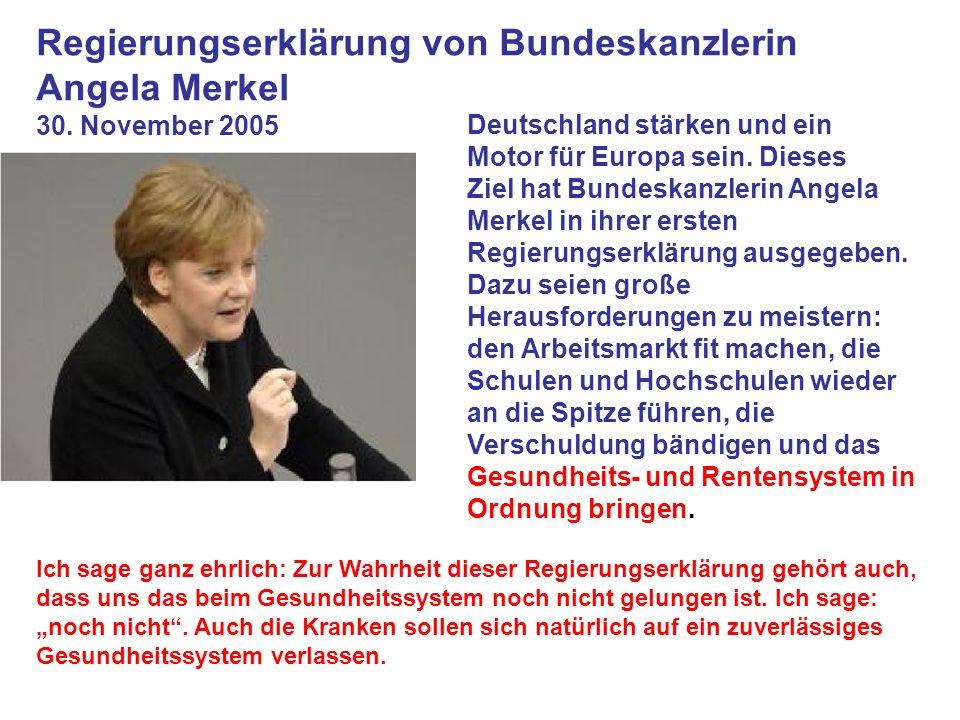 Deutschland stärken und ein Motor für Europa sein. Dieses Ziel hat Bundeskanzlerin Angela Merkel in ihrer ersten Regierungserklärung ausgegeben. Dazu