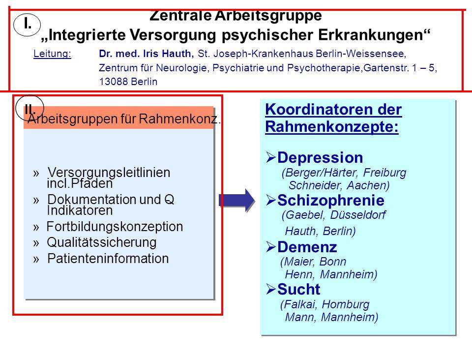 Zentrale Arbeitsgruppe Integrierte Versorgung psychischer Erkrankungen Leitung: Dr. med. Iris Hauth, St. Joseph-Krankenhaus Berlin-Weissensee, Zentrum