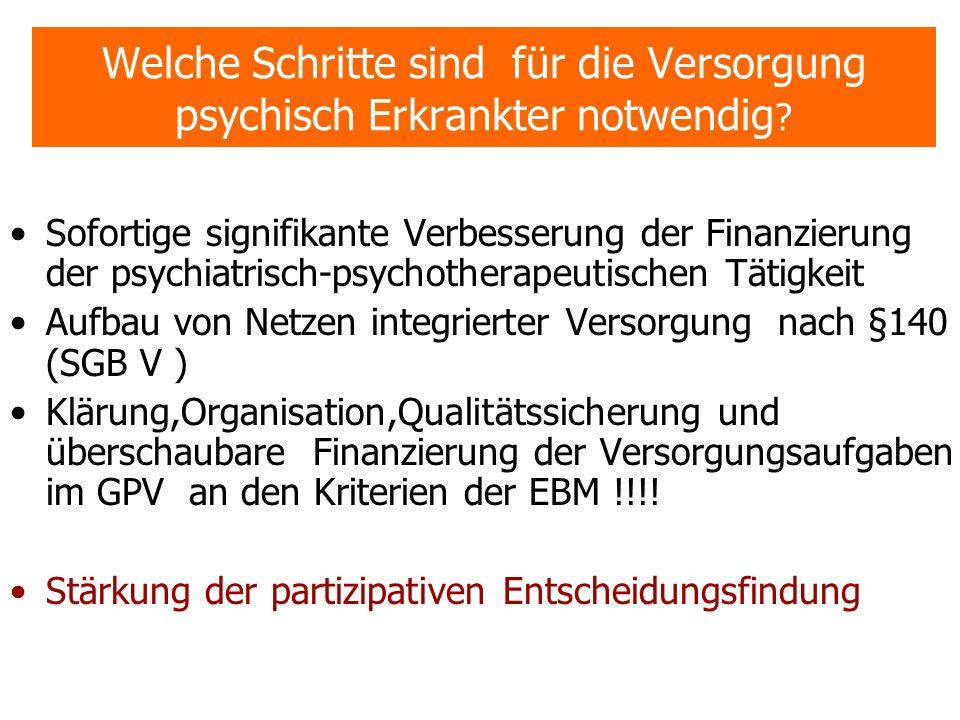Welche Schritte sind für die Versorgung psychisch Erkrankter notwendig ? Sofortige signifikante Verbesserung der Finanzierung der psychiatrisch-psycho