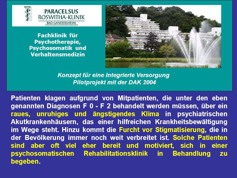Fachklinik für Psychotherapie, Psychosomatik und Verhaltensmedizin Konzept für eine Integrierte Versorgung Pilotprojekt mit der DAK 2004 Patienten kla