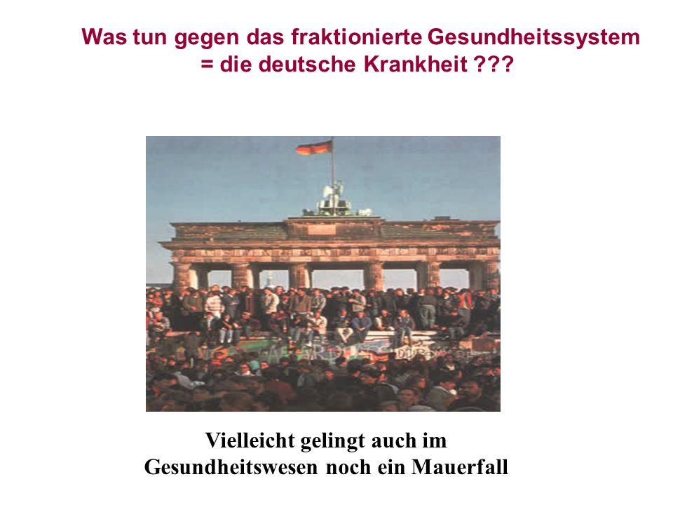 Vielleicht gelingt auch im Gesundheitswesen noch ein Mauerfall Was tun gegen das fraktionierte Gesundheitssystem = die deutsche Krankheit ???