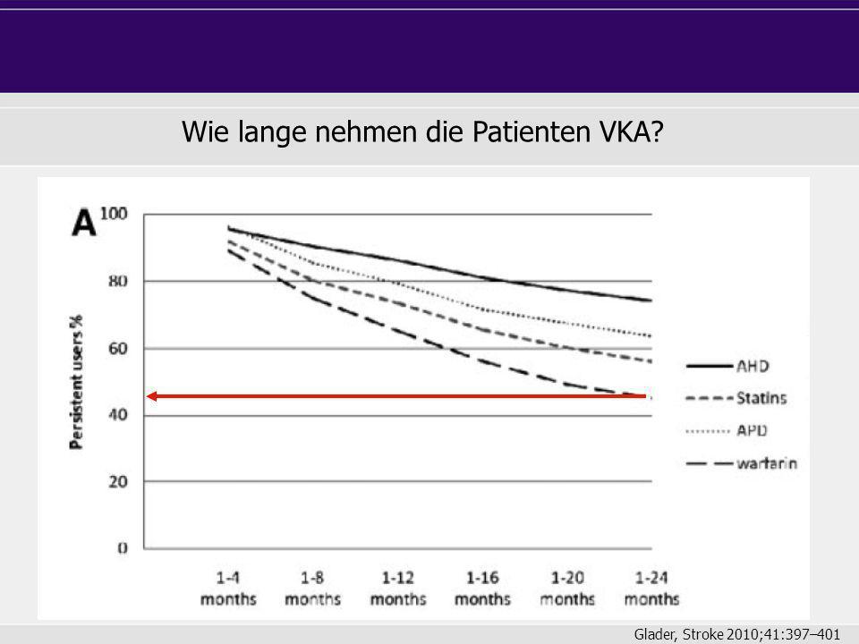 Wie lange nehmen die Patienten VKA? Glader, Stroke 2010;41:397–401