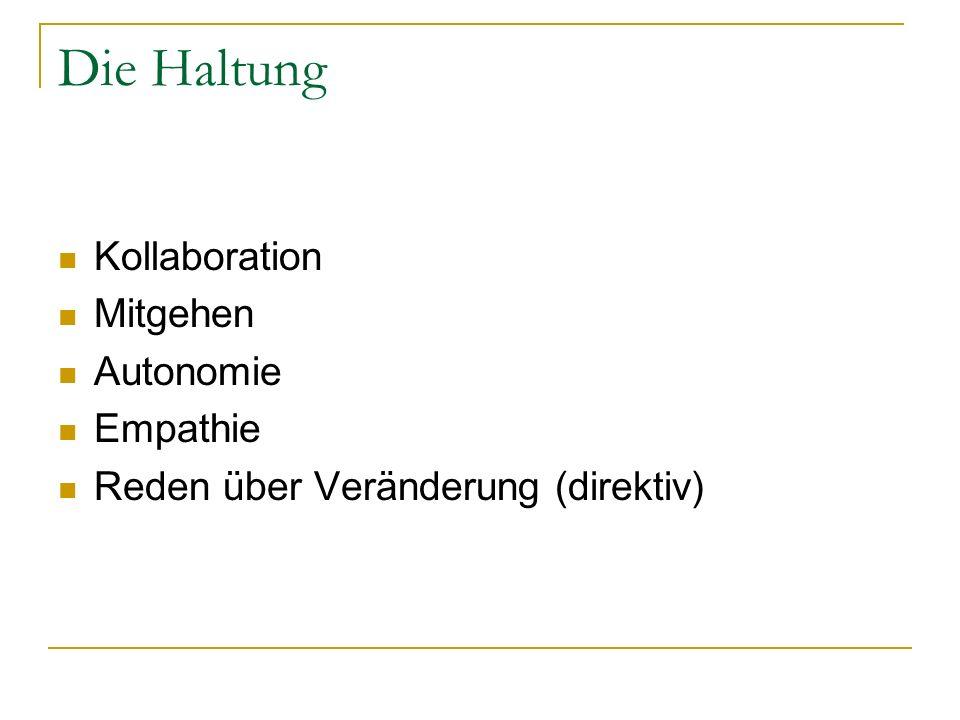 Die Haltung Kollaboration Mitgehen Autonomie Empathie Reden über Veränderung (direktiv)