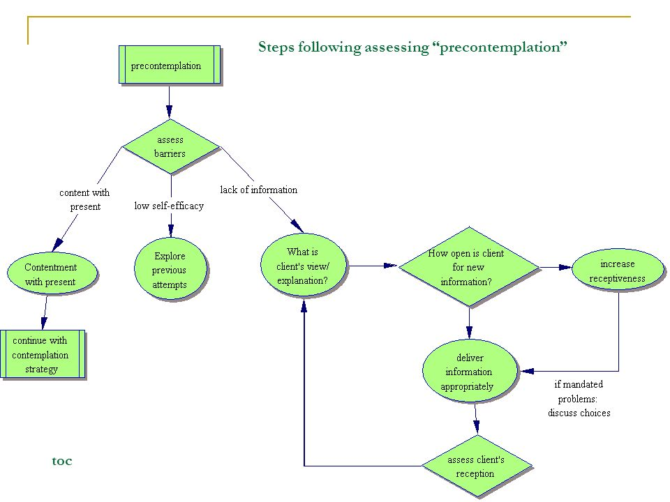 Steps following assessing precontemplation toc