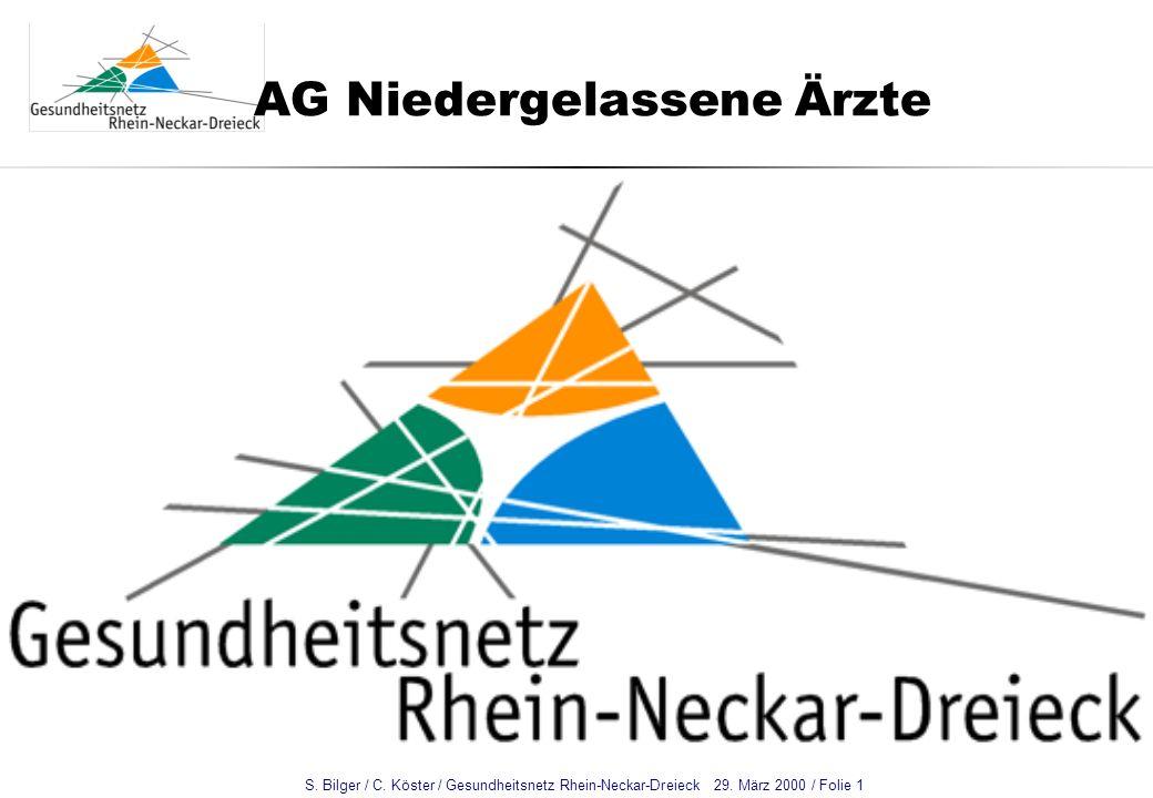 S. Bilger / C. Köster / Gesundheitsnetz Rhein-Neckar-Dreieck 29. März 2000 / Folie 1 AG Niedergelassene Ärzte