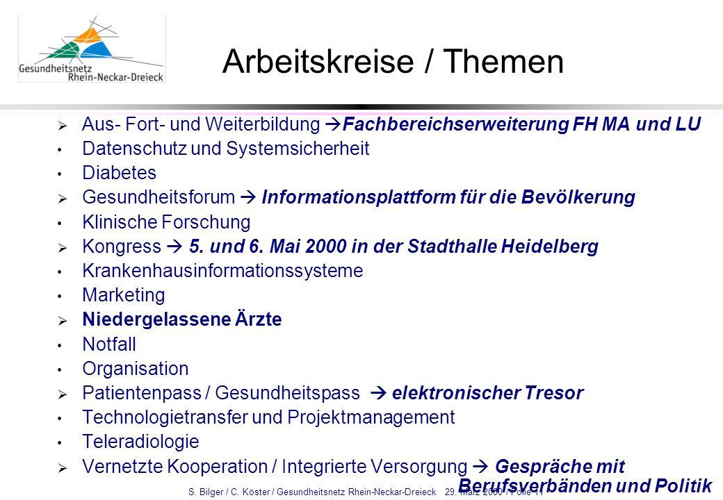 S. Bilger / C. Köster / Gesundheitsnetz Rhein-Neckar-Dreieck 29. März 2000 / Folie 11 Arbeitskreise / Themen Aus- Fort- und Weiterbildung Fachbereichs
