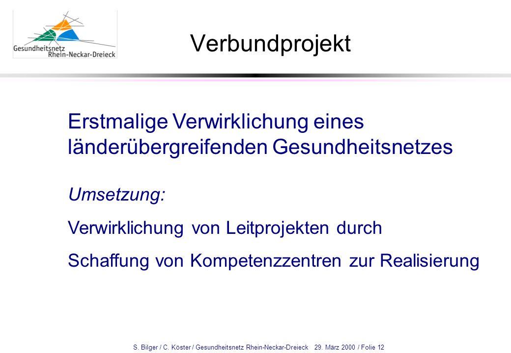 S. Bilger / C. Köster / Gesundheitsnetz Rhein-Neckar-Dreieck 29. März 2000 / Folie 12 Verbundprojekt Erstmalige Verwirklichung eines länderübergreifen