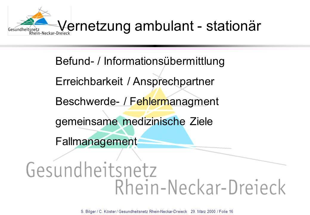 S. Bilger / C. Köster / Gesundheitsnetz Rhein-Neckar-Dreieck 29. März 2000 / Folie 16 Vernetzung ambulant - stationär Befund- / Informationsübermittlu