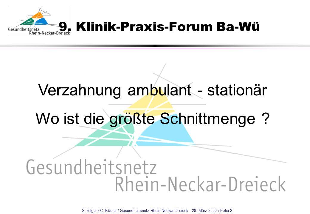 S. Bilger / C. Köster / Gesundheitsnetz Rhein-Neckar-Dreieck 29. März 2000 / Folie 2 9. Klinik-Praxis-Forum Ba-Wü Verzahnung ambulant - stationär Wo i