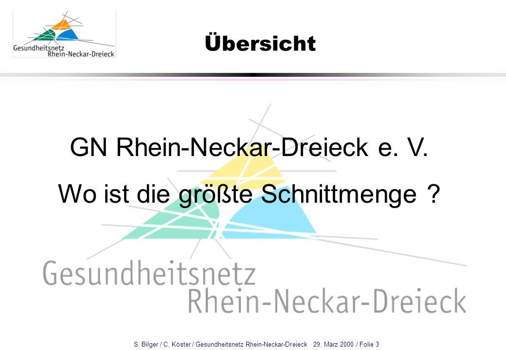 S. Bilger / C. Köster / Gesundheitsnetz Rhein-Neckar-Dreieck 29. März 2000 / Folie 3 Übersicht GN Rhein-Neckar-Dreieck e. V. Wo ist die größte Schnitt