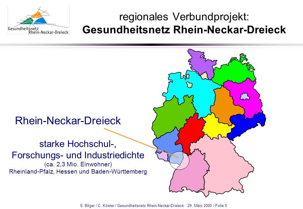 S. Bilger / C. Köster / Gesundheitsnetz Rhein-Neckar-Dreieck 29. März 2000 / Folie 5 regionales Verbundprojekt: Gesundheitsnetz Rhein-Neckar-Dreieck R