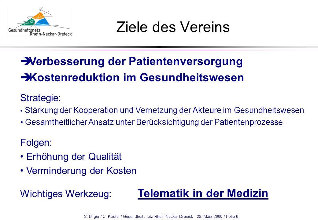 S. Bilger / C. Köster / Gesundheitsnetz Rhein-Neckar-Dreieck 29. März 2000 / Folie 8 Ziele des Vereins Verbesserung der Patientenversorgung Kostenredu