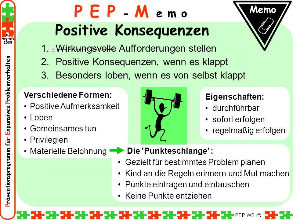 Präventionsprogramm für Expansives Problemverhalten Hogrefe 2005 © PEP-WS 101 Verschiedene Formen: Positive Aufmerksamkeit Loben Gemeinsames tun Privi