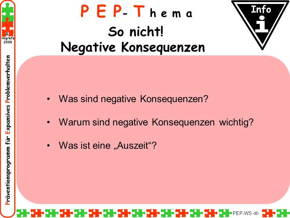 Präventionsprogramm für Expansives Problemverhalten Hogrefe 2005 © PEP-WS 105 P E P - T h e m a So nicht! Negative Konsequenzen Was sind negative Kons