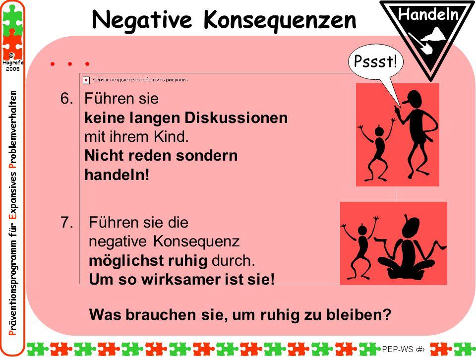 Präventionsprogramm für Expansives Problemverhalten Hogrefe 2005 © PEP-WS 114 Pssst! Handeln Negative Konsequenzen 6.Führen sie keine langen Diskussio