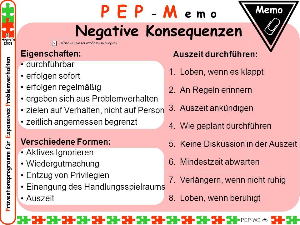 Präventionsprogramm für Expansives Problemverhalten Hogrefe 2005 © PEP-WS 124 Auszeit durchführen: 1.Loben, wenn es klappt 2.An Regeln erinnern 3.Ausz
