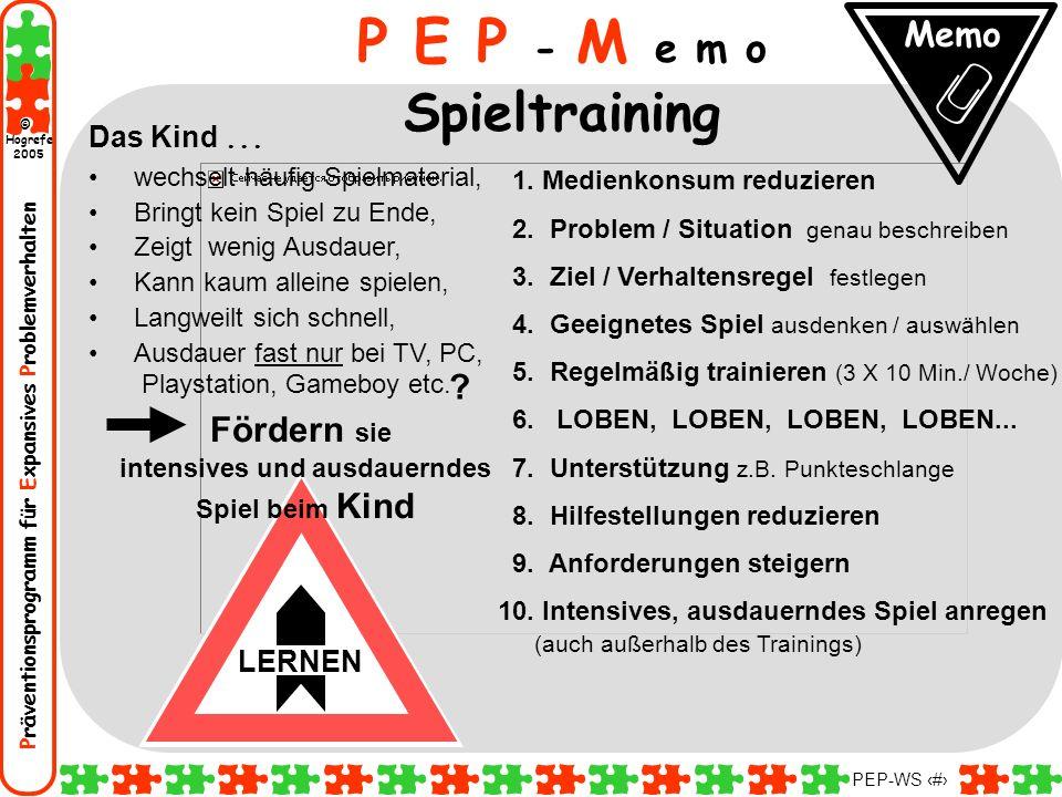 Präventionsprogramm für Expansives Problemverhalten Hogrefe 2005 © PEP-WS 137 P E P - M e m o Spieltraining Das Kind... wechselt häufig Spielmaterial,