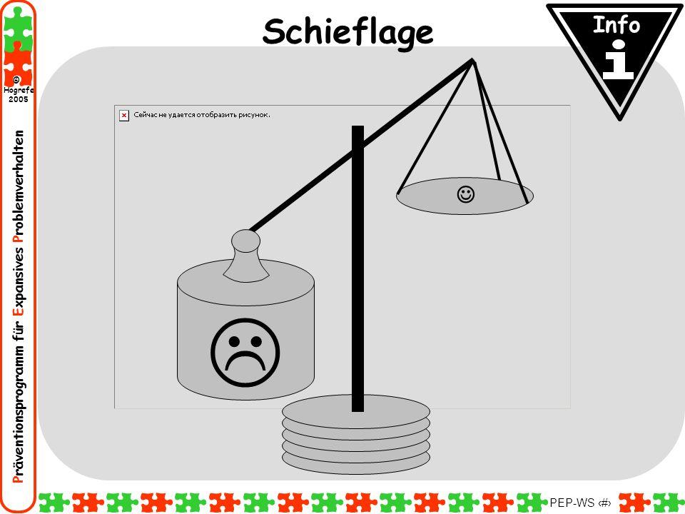 Präventionsprogramm für Expansives Problemverhalten Hogrefe 2005 © PEP-WS 14 Schieflage Info