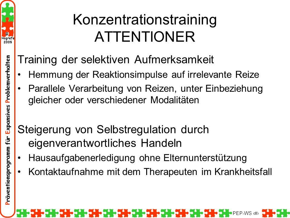 Präventionsprogramm für Expansives Problemverhalten Hogrefe 2005 © PEP-WS 144 Konzentrationstraining ATTENTIONER Training der selektiven Aufmerksamkei