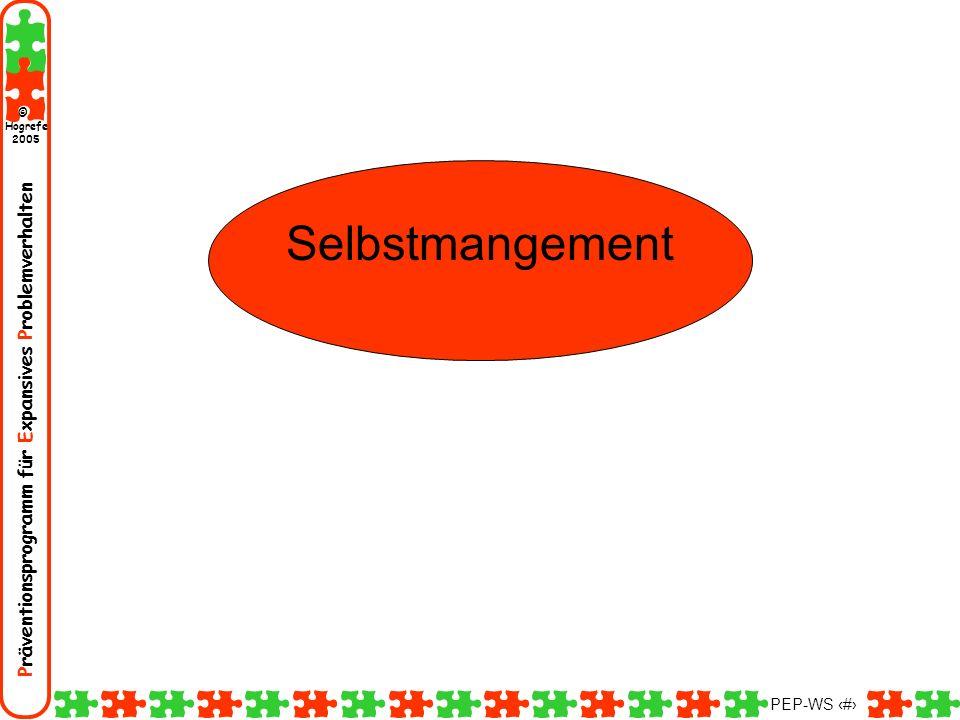 Präventionsprogramm für Expansives Problemverhalten Hogrefe 2005 © PEP-WS 146 Selbstmangement