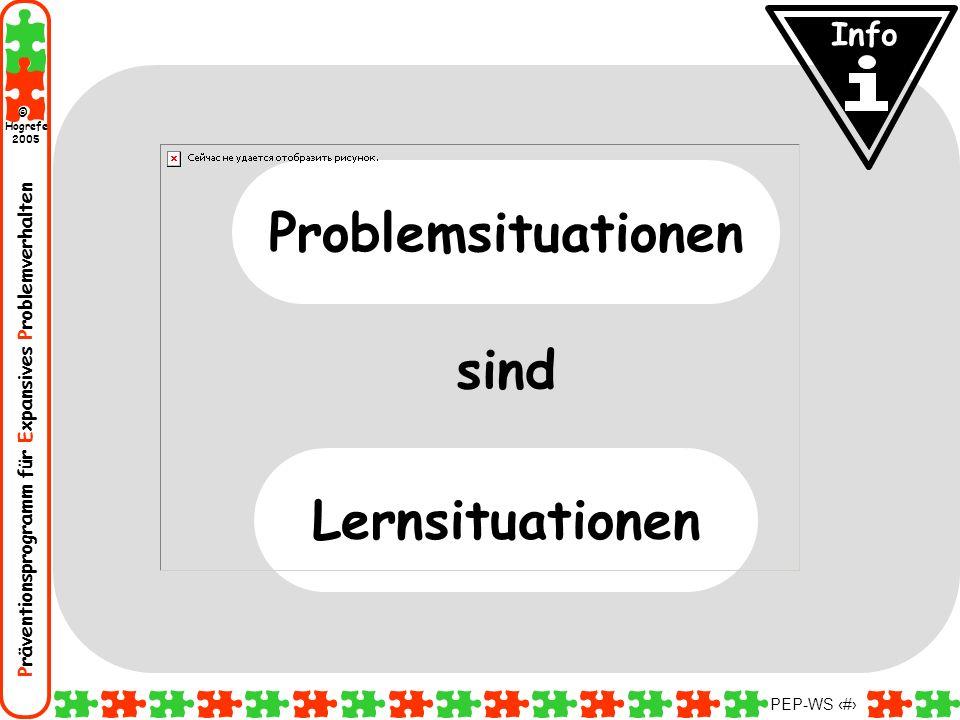 Präventionsprogramm für Expansives Problemverhalten Hogrefe 2005 © PEP-WS 17 sind Problemsituationen Lernsituationen Info