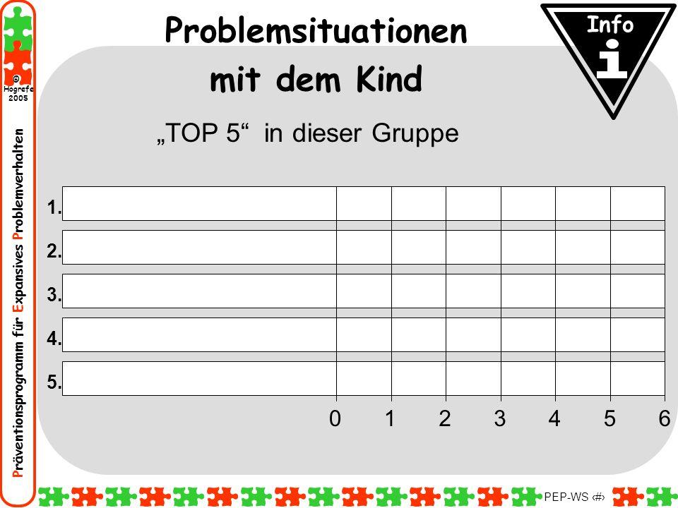 Präventionsprogramm für Expansives Problemverhalten Hogrefe 2005 © PEP-WS 18 1. 3. 4. 5. 2. 0346521 Problemsituationen mit dem Kind TOP 5 in dieser Gr