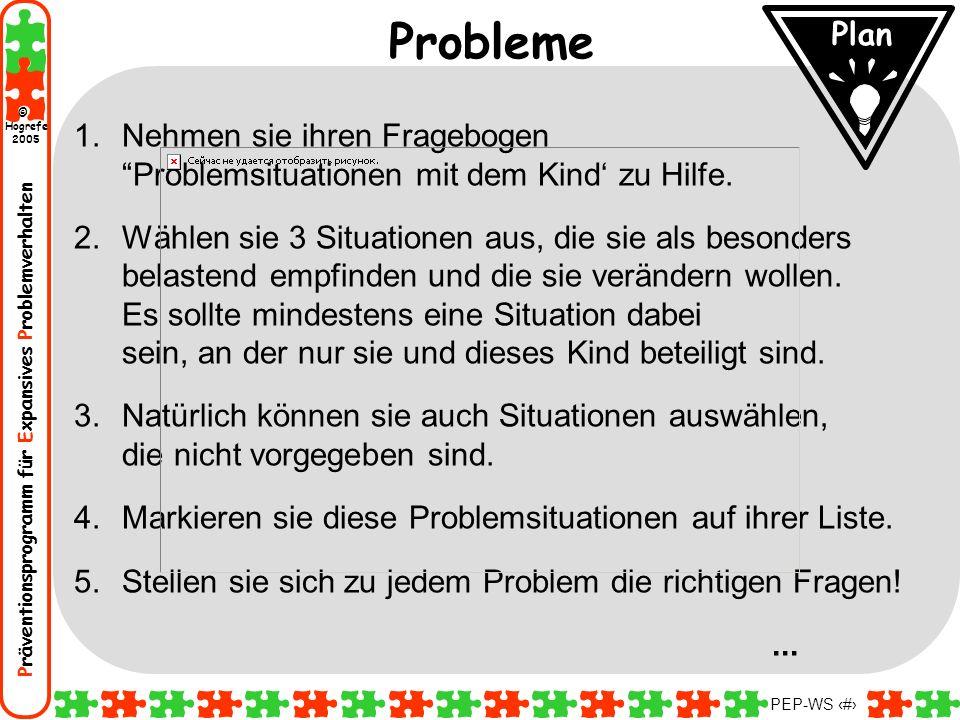 Präventionsprogramm für Expansives Problemverhalten Hogrefe 2005 © PEP-WS 19 1.Nehmen sie ihren Fragebogen Problemsituationen mit dem Kind zu Hilfe. 2